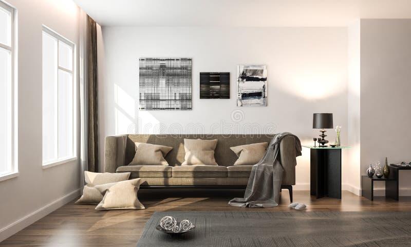 Interior living room, white modern style, with brown loose sofa, on hardwood floor, studio mock-up, 3D rendering, 3D illustration stock illustration