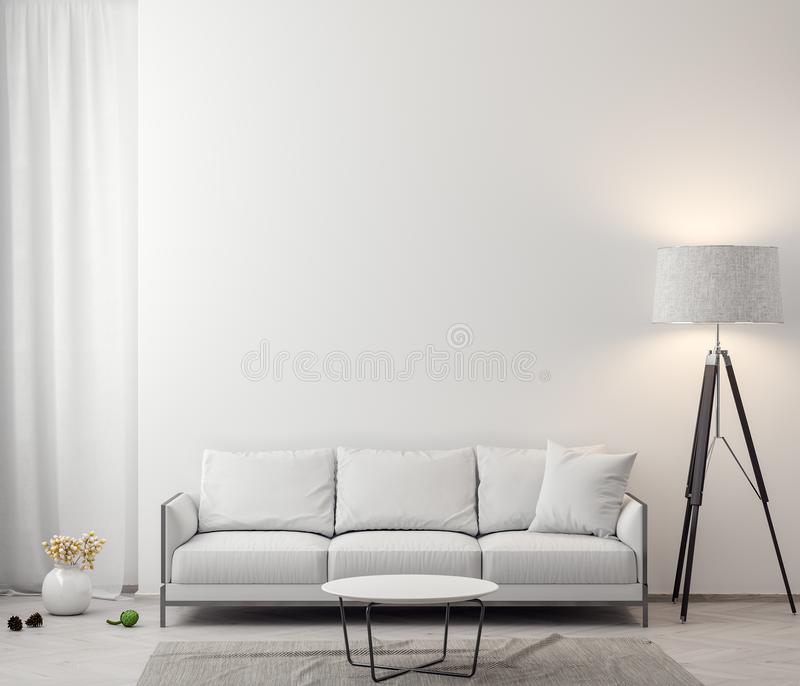 Interior of living room with white walls, 3D Rendering royalty free stock image
