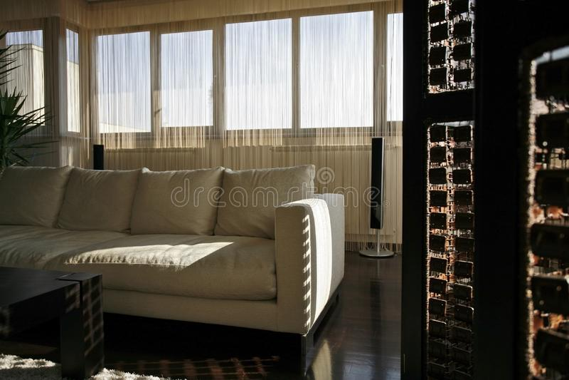 Interior living with sofa stock photos