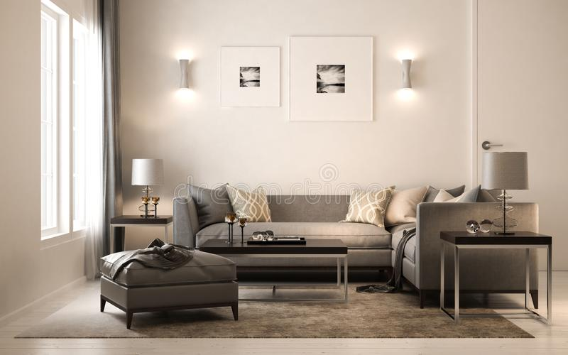 Interior living studio scandinavian, 3D render, 3D illustration royalty free illustration
