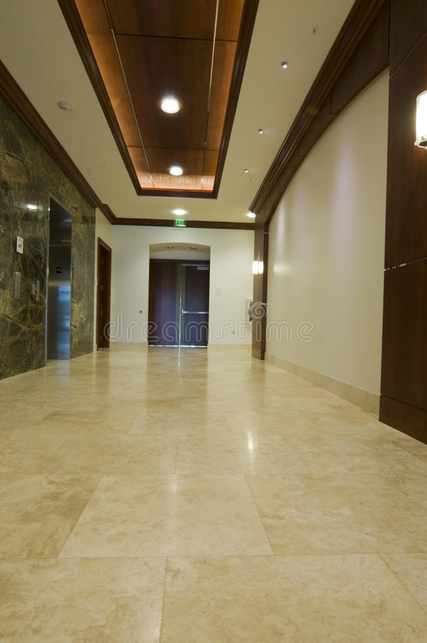 Interior of Lobby. With Marble Floors and Elevator royalty free stock photo