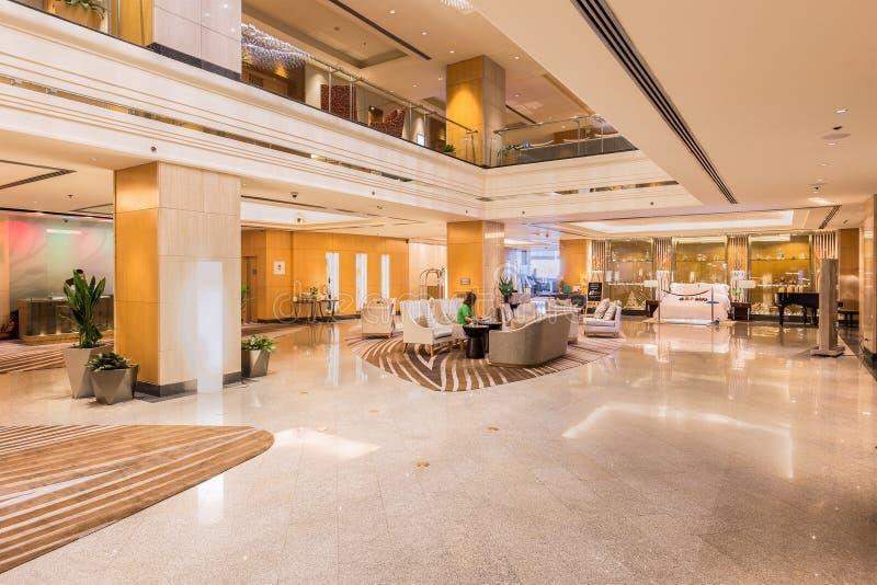 Interior lobby view of the luxury Westin Grande Sukhumvit Bangk royalty free stock image
