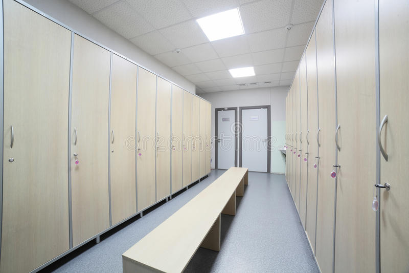 Interior of a locker or changing room stock image