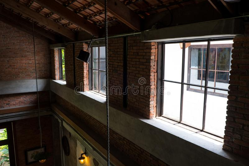 Interior of loft in duplex house. royalty free stock photography