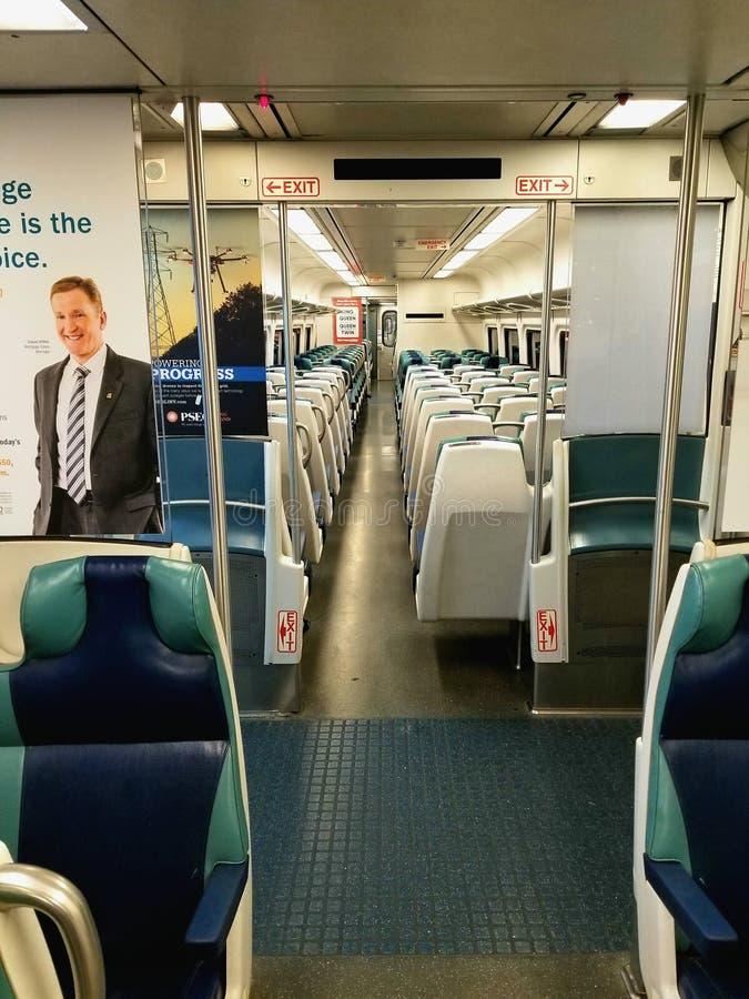Interior of Long Island Railroad Train stock photos