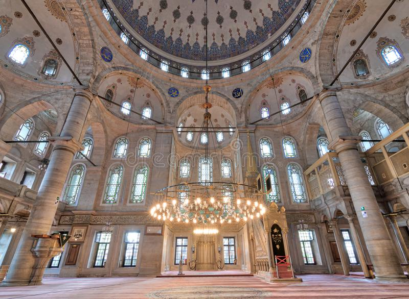 Interior low angle shot of Eyup Sultan Mosque, Istanbul, Turkey. Interior low angle shot of Eyup Sultan Mosque situated in the Eyup district of Istanbul, Turkey royalty free stock photography