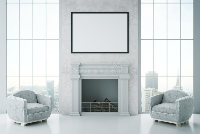 Interior lujoso con la chimenea stock de ilustración