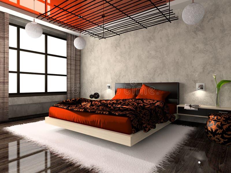 Interior lujoso del dormitorio ilustración del vector