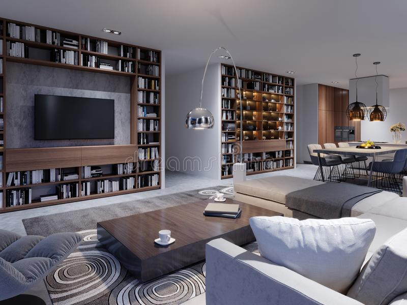 Interior lujoso del estudio de la sala de estar en el DES contemporáneo ilustración del vector