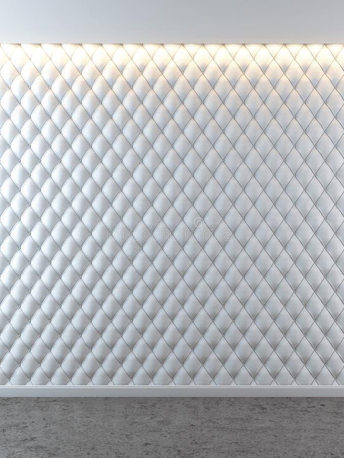 Interior luxuoso branco com paredes de couro ilustração do vetor