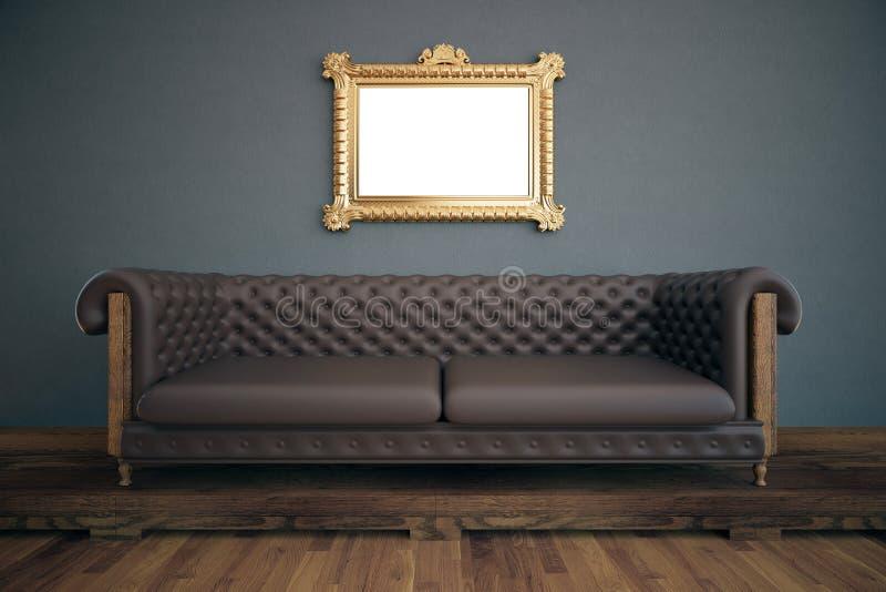 Interior luxuoso com quadro branco ilustração do vetor