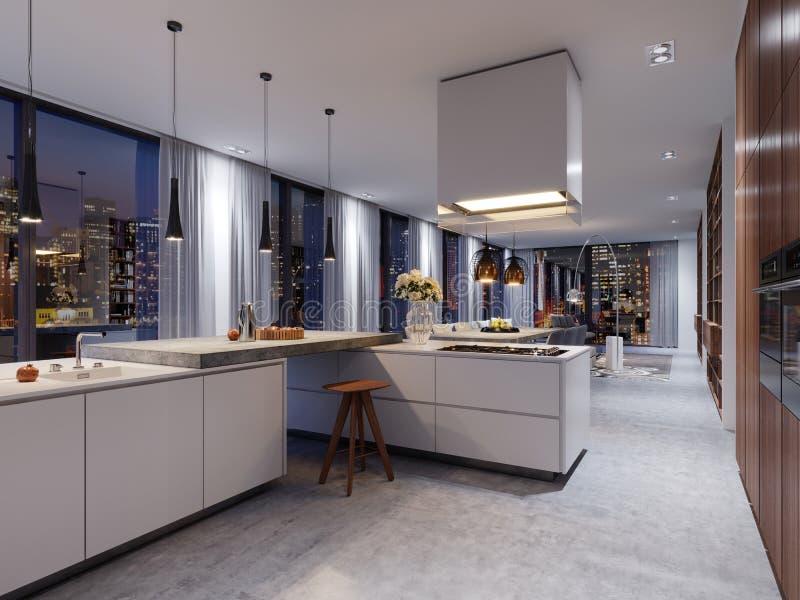 Interior luxuoso com uma ilha concreta, cadeiras da cozinha, uma fileira de c ilustração stock