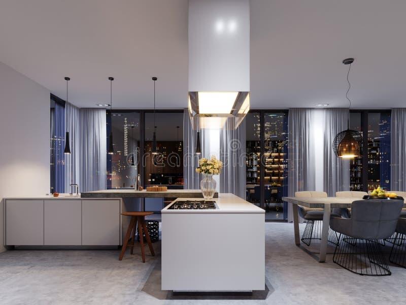 Interior luxuoso da cozinha com uma ilha concreta, as cadeiras, uma fileira das bancadas e uma janela panorâmico ilustração royalty free