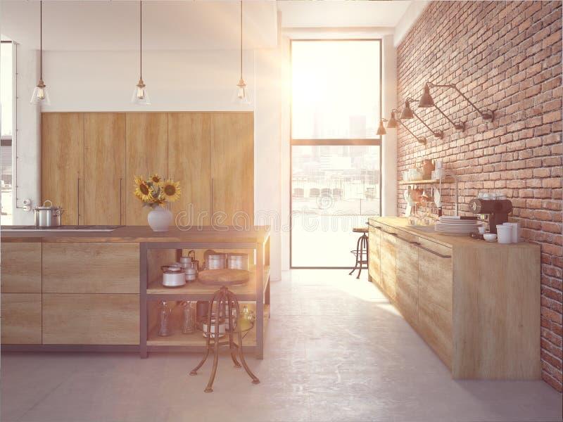 Interior luxuoso da cozinha do projeto moderno rendição 3d ilustração royalty free