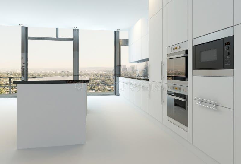 Interior luxuoso da cozinha na cor branca pura ilustração do vetor