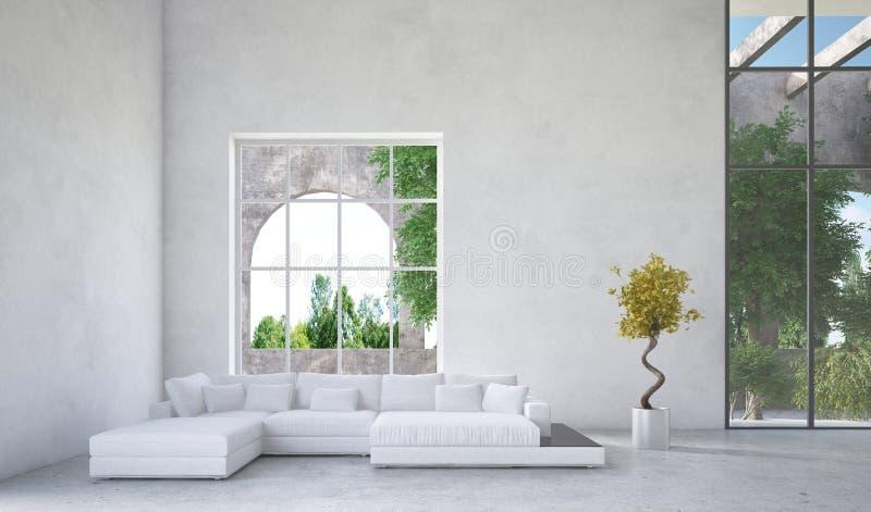 Interior luxuoso da sala de visitas do condomínio ilustração stock