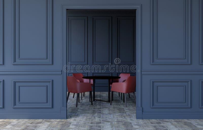 Interior luxuoso da sala no projeto clássico moderno com mesa de jantar e as cadeiras modernas, rendição 3D fotografia de stock