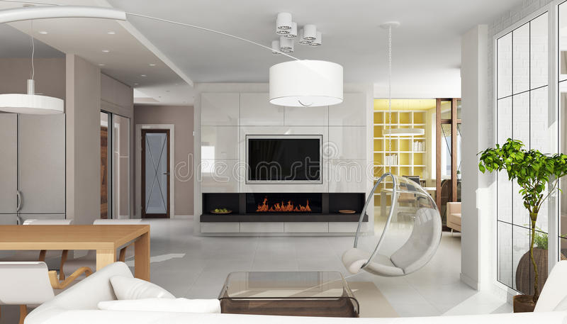 Interior luxuoso do apartamento com chaminé ilustração do vetor