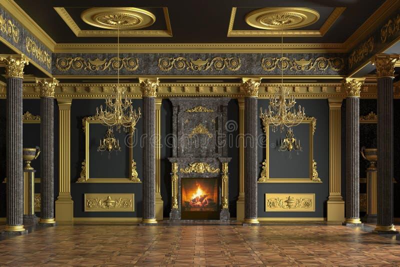 Interior luxuoso do palácio rendição 3d ilustração stock