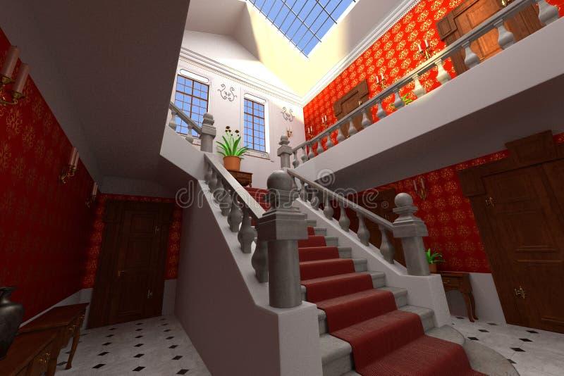 Interior luxuoso do solar - entrada ilustração royalty free