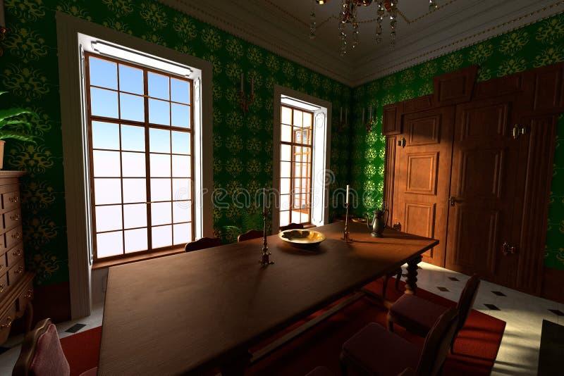 Interior luxuoso do solar - sala de jantar ilustração royalty free