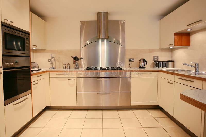 Interior luxuoso moderno da cozinha imagens de stock royalty free