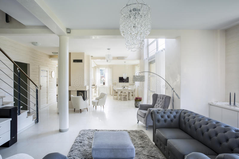 Interior of luxury apartment. Horizontal view of interior of luxury apartment stock photography