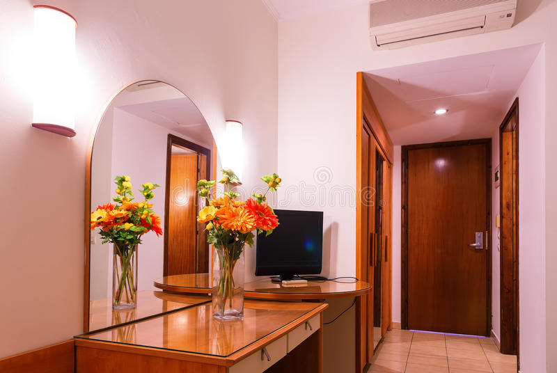 Interior luxury apartment in hotel, comfortable classic living room stock image