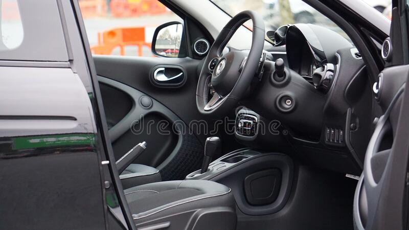 Interior of luxury automobile stock photos