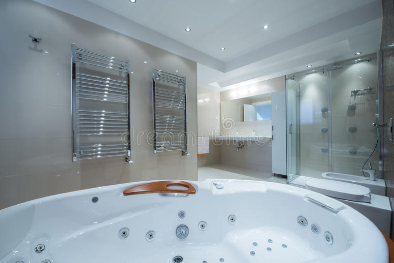 Interior Of A Luxury Bathroom With Jacuzzi Tub Stock Photo - Image ...