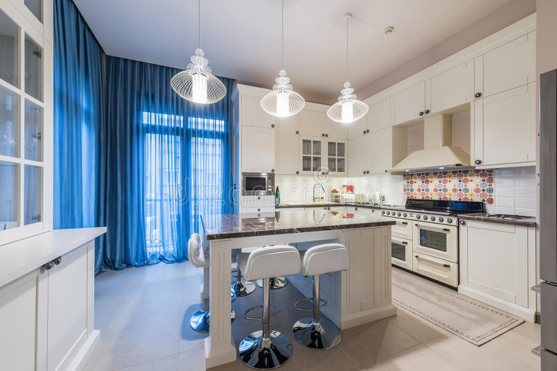 Interior of a luxury kitchen. In new apartment royalty free stock images