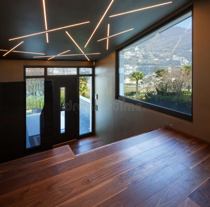 Interior of a luxury modern villa, entry stock image
