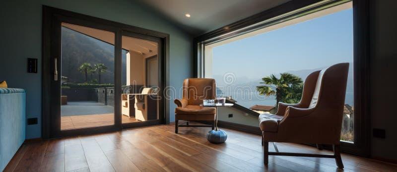 Interior of a luxury modern villa, living room. Interior of a luxury modern villa, nobody royalty free stock photos