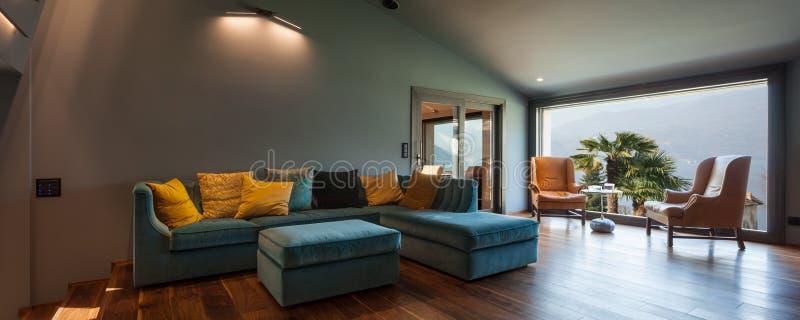 Interior of a luxury modern villa, living room. Interior of a luxury modern villa, nobody stock photos