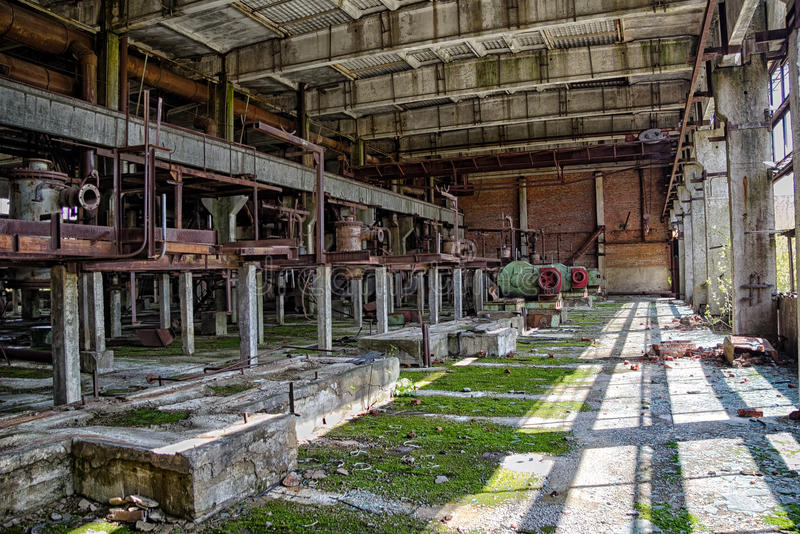 Interior of machinery of abandoned factory of synthetic rubber.  royalty free stock photos