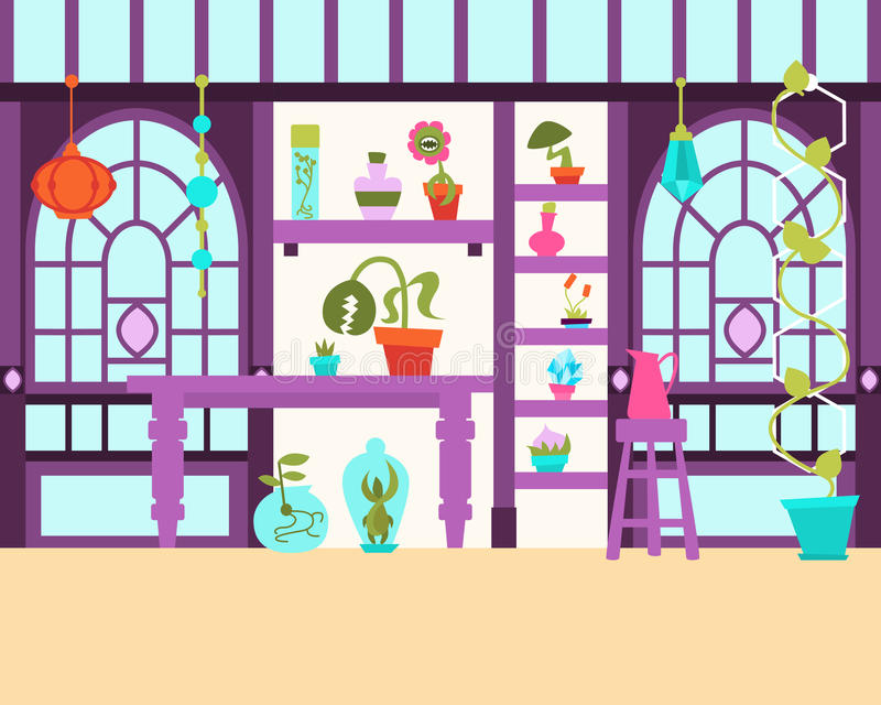Interior of the magical greenhouse royalty free illustration