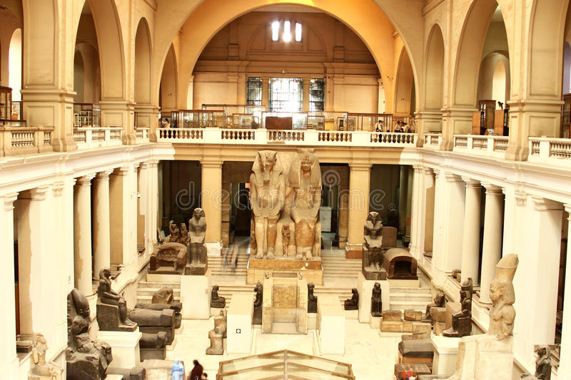 Interior of the Main Hall, The Museum of Egyptian Antiquities (Egyptian Museum), Cairo, Egypt, North Africa, Africa stock images