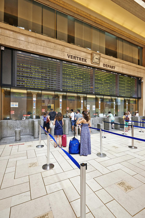 Interior of the main lobby of Brussels Central Train Station. BRUSSELS, BELGIUM - JULY 27, 2014: Interior of the main lobby of Brussels Central Train Station on stock photo