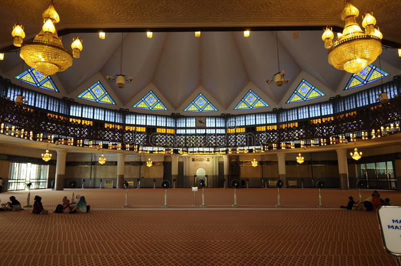 Interior of Malaysia National Mosque aka Masjid Negara stock photos