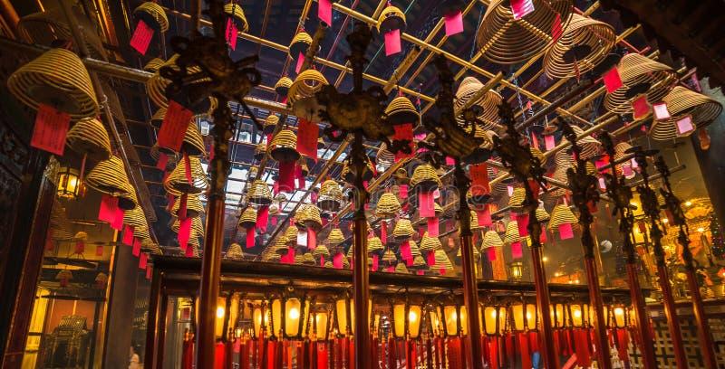 Interior of Man Mo Temple in Hong Kong royalty free stock photo