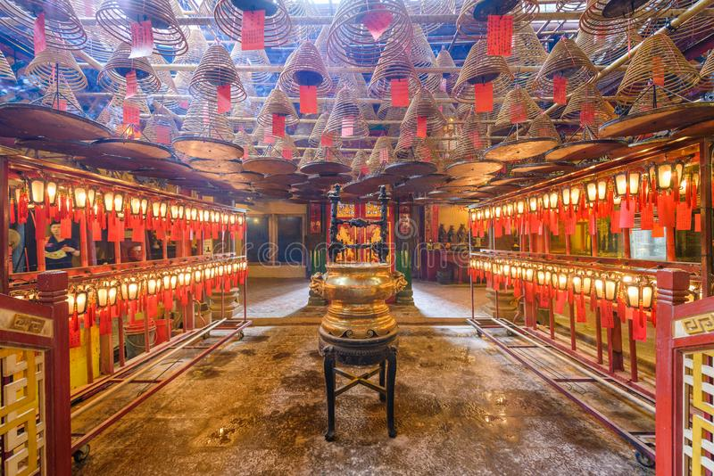 The interior of Man Mo Temple stock photo