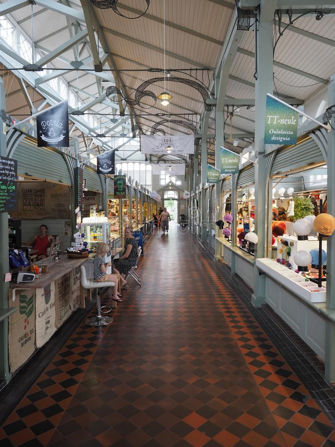 Interior of the market hall in Oulu. Oulu, Finland - July 26, 2018: Interior of the market hall in Oulu royalty free stock photos