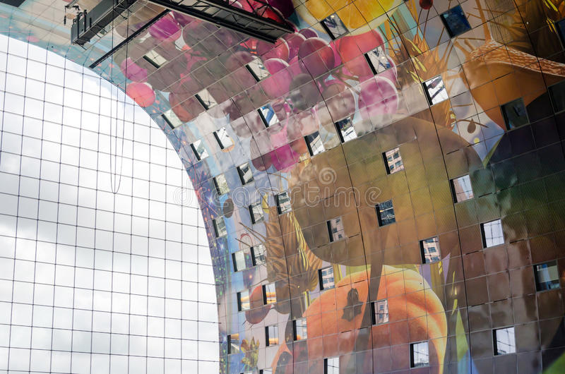 Interior of Markthal (Market hall) in Rotterdam royalty free stock photo