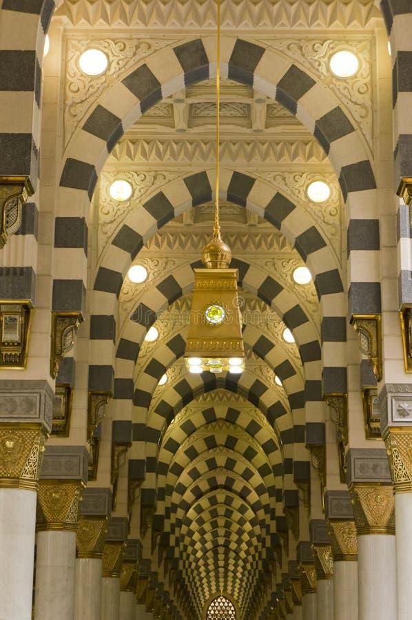 Interior of Masjid (mosque) Nabawi in Medina royalty free stock photo