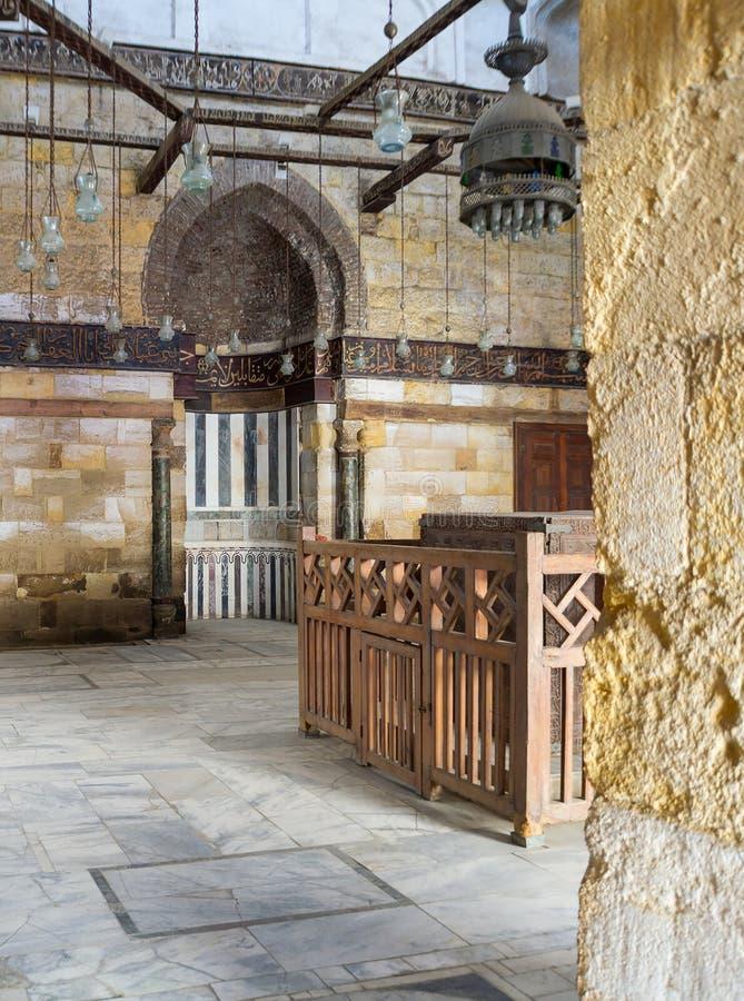 Interior of Mausoleum of al-Salih Nagm Ad-Din Ayyub in 1242-44, Al Muizz Street, Old Cairo, Egypt. Interior of Mausoleum of al-Salih constructed by As-Saleh Nagm royalty free stock photography