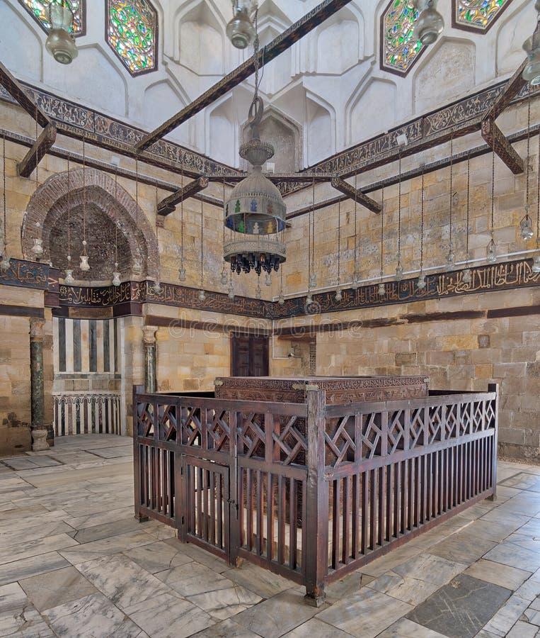 Interior of Mausoleum of al-Salih Nagm Ad-Din Ayyub in 1242-44, Al Muizz Street, Old Cairo, Egypt. Interior of Mausoleum of al-Salih constructed by As-Saleh Nagm stock photography