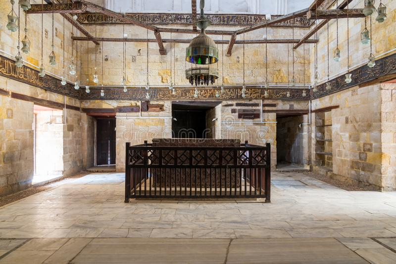Interior of Mausoleum of al-Salih Nagm al-Din Ayyub, Moez Street, Old Cairo, Egypt. Interior of Mausoleum of al-Salih constructed by As-Saleh Nagm Ad-Din Ayyub stock image