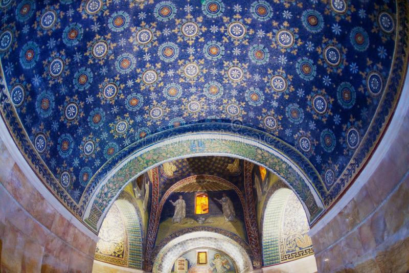 Interior of the Mausoleum of Galla Placidia, chapel embellished with colorful mosaics in Ravenna, Italy. royalty free stock photo