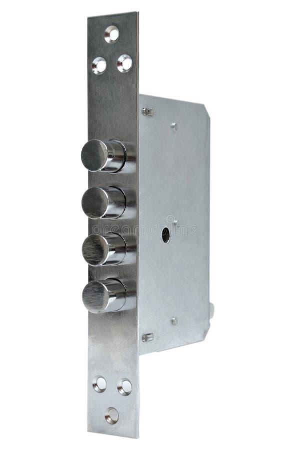 Interior mechanism of door locking. Isolated on white ground stock photography