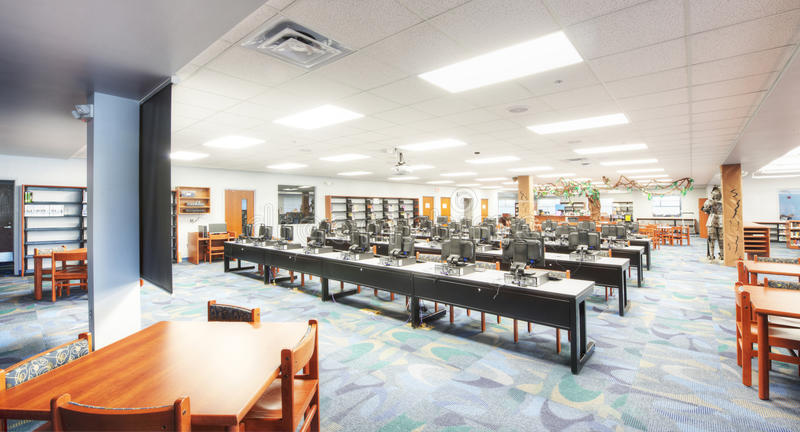 Interior of Media Center. At Middle School in Florida stock image